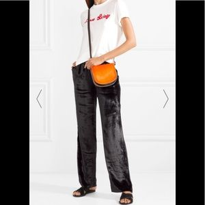 Jbrand black velvet gaucho pants